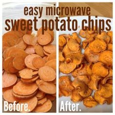 easy, microwave homemade sweet potato chips
