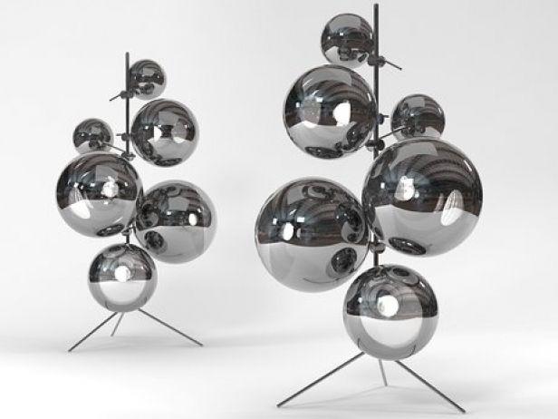 Mirror Ball Stand 3d Model By Design Connected In 2020 Mirror Ball Floor Lamp Bedroom Floor Lamps Living Room Modern