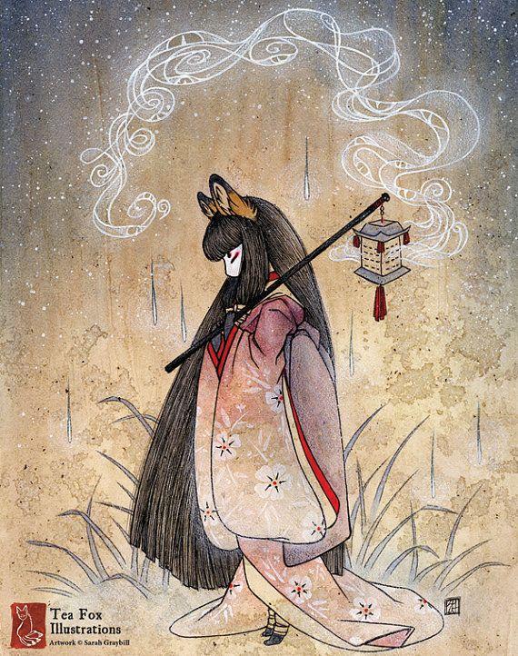 Malos pensamientos / Kitsune Fox Yokai Japonés estilo asiático / decoración de la pared / impresión Poster de 11 x 14