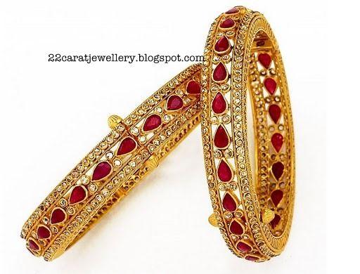 Jewellery Designs: Uncut Ruby Bangle Set