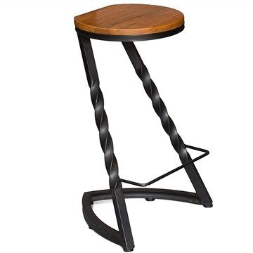 Twist Metal Bar Stool with Timber Seat
