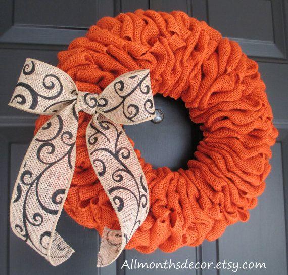 "14"" Pumpkin Orange Burlap Wreath, Burlap Wreath with Ribbon, Pumpkin Wreath, Fall Wreath, Autumn, Halloween Wreath, Thanksgiving Wreath on Etsy, $49.00"