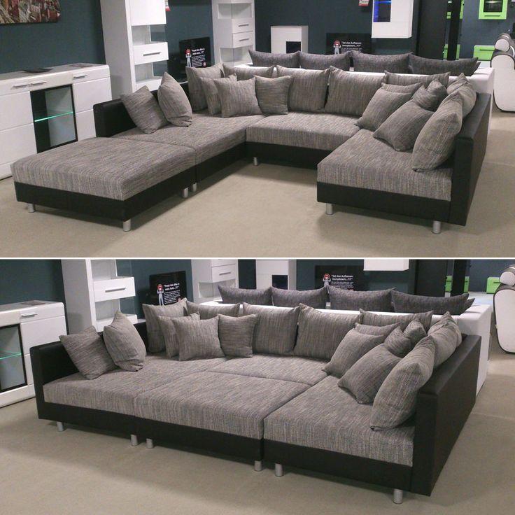 Wohnlandschaft Claudia XXL Ecksofa Couch Sofa mit Hocker schwarz und graubeige in Möbel & Wohnen, Möbel, Sofas & Sessel | eBay