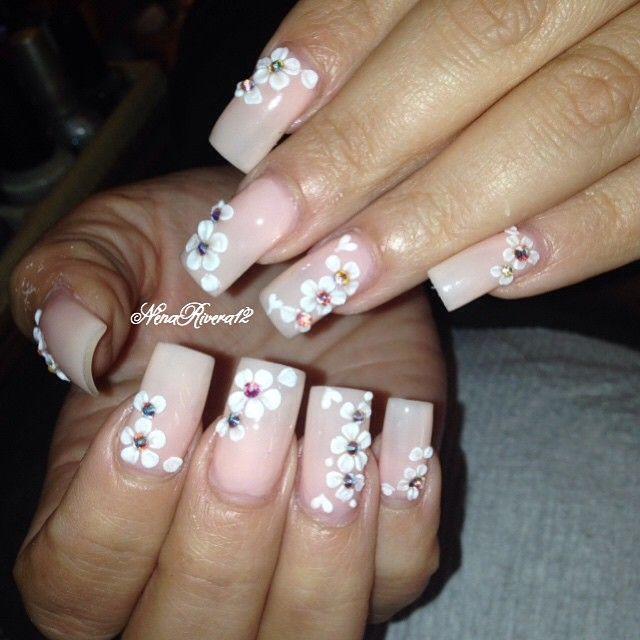 white floral with gemstones Instagram media by nenarivera12