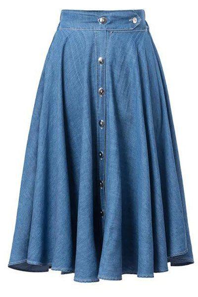 Brief Elastic Waist Mid-Calf Chambray Skirt For Women