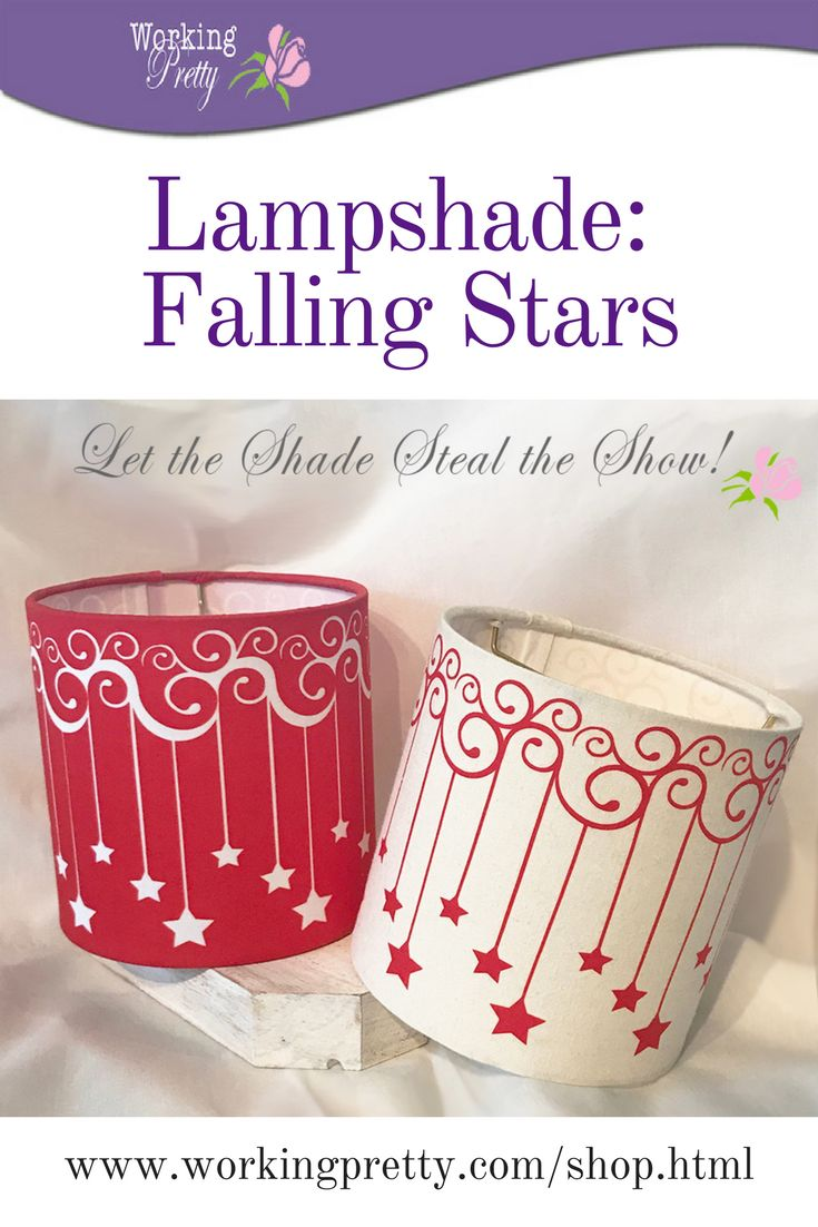 """Transform a simple lamp with a """"Falling Stars"""" lampshade--available in red or natural."""