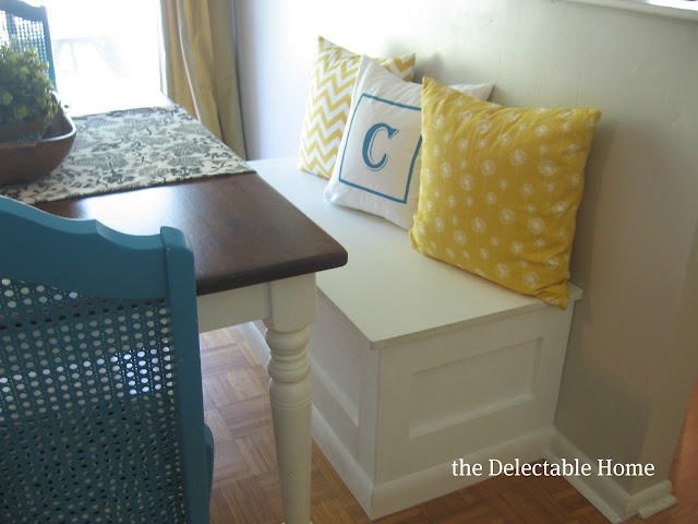 DIY Storage Bench for the KitchenKitchens Tables Benches, Dining Room, Crafts Ideas, Breakfast Nooks, Decor Projects, Boys Room, Diy Storage, Diy Projects, Storage Benches