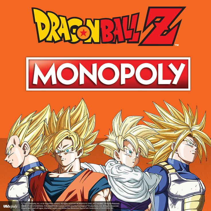 Raise Your Power Level and Charge them rent! In this episode of Dragon Ball Z, we find the Z-fighters in an epic battle of dice rolling and real estate! Recruit legendary warriors like GOKU, VEGETA and GOHAN to help in this adventure of MONOPOLY®: Dragon Ball Z! Take a chance to be the richest fighter in the world as you encounter the RED RIBBON ARMY and the CAPSULE CORP. Friends like BULMA and MASTER ROSHI can help you along the way on your path to greatness!