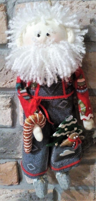 Дед мороз готовится к Новому году: текстильная кукла, ручная работа,  сделано своими руками