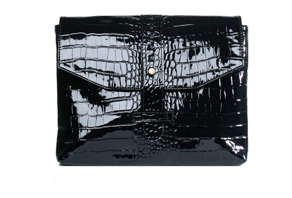 iPad folder, with zipped pocket for cable  black croco