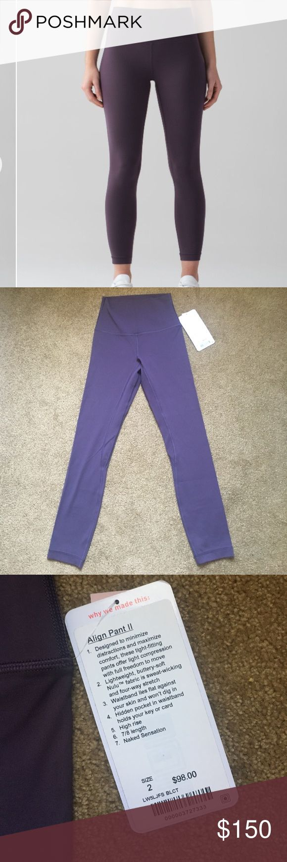 Lululemon Align Pant II Black Currant 2 NWT Sold out. Nulu fabric, super soft and stretchy. Size 2, which is an XXS. Stock photo shows truest color, it's a very grey purple. No trades and no transactions outside of Posh. Price is firm! I priced these so that after Posh takes their 20%, I get back exactly what I paid w/ sales tax. lululemon athletica Pants Leggings