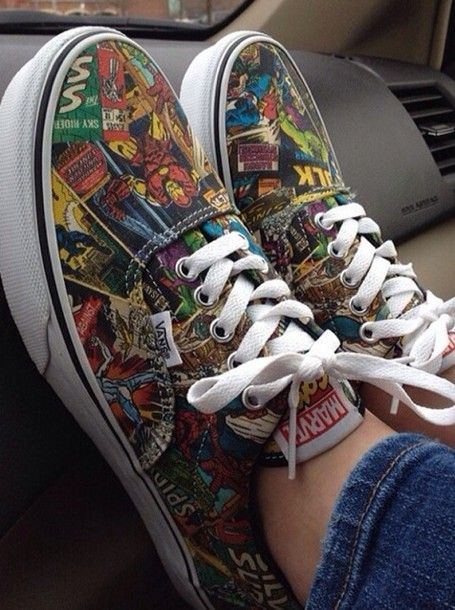 Shoes: vans of the wall, the avengers, girls shoes, girl, colorful ...