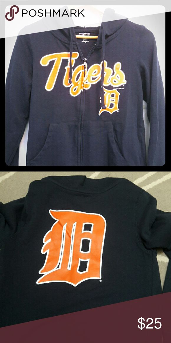 MLB Detroit Tigers Hoodie Navy zip up hoodie. Ornage and white lettering. Large D on back of hoodie. Size small Sweaters