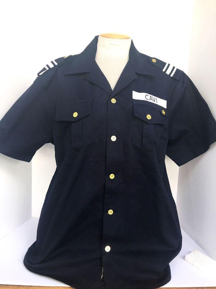 Cavi Men's Military Style Button Down Dark Navy Blue Large Shirt #Cavi #ButtonFront