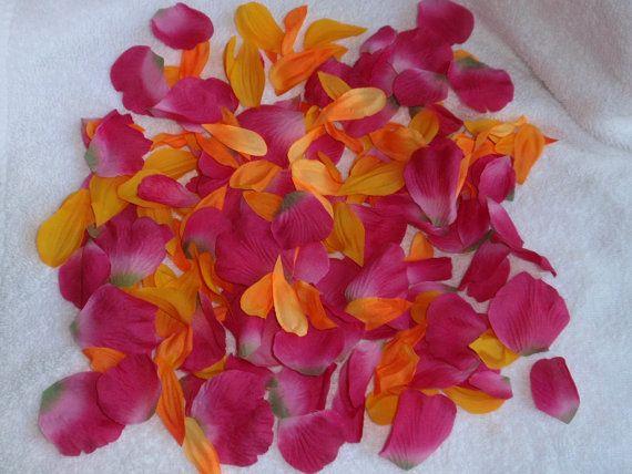 200 Silk Rose Petals BRIGHT PINK & ORANGE Wedding by superbuy4j, $7.95