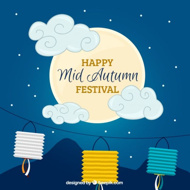Nice night background with moon and decoration for mid-autumn festival Free…