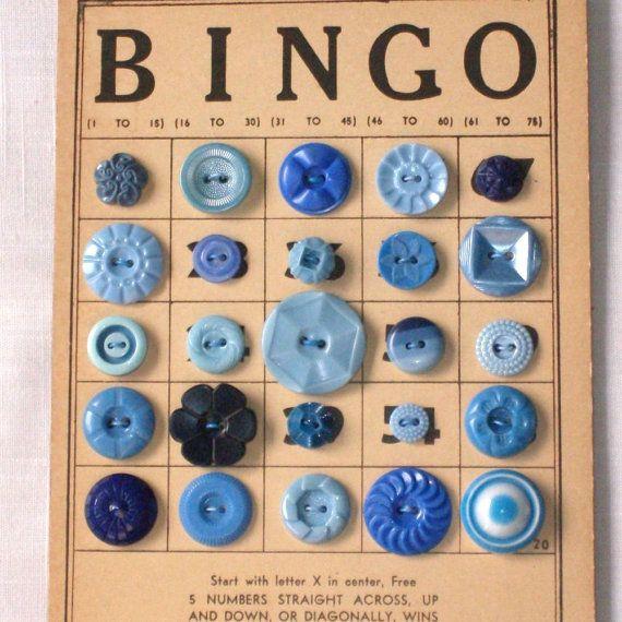 Button Bingo- cute way to show buttons: Bingo Cards, Vintage Buttons, Vintage Blue, Buttons Crafts, Button Crafts, Cute Ideas, Buttons Flower, Blue Buttons, Buttons Bingo