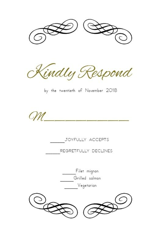 photo relating to Free Printable Response Cards identified as Attractive Factor - RSVP card Template (Cost-free RSVP Playing cards