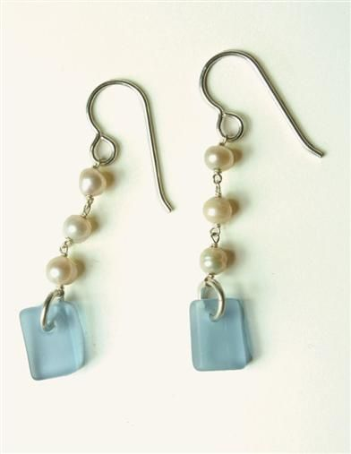 "PEARL & SEAGLASS EARRINGS Handmade in USA  1.5"" Victoria Trading Company"