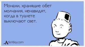 Аткрытка №405062: Монахи, хранящие обет   молчания, ненавидят,   когда в туалете   выключают свет. - atkritka.com