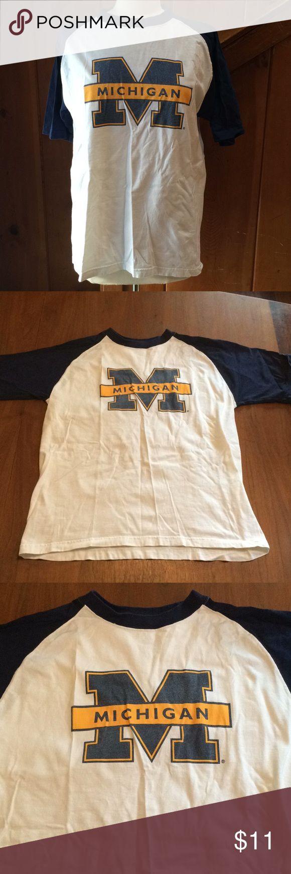 "University of Michigan T Shirt U of M baseball style t-Shirt. Vintage. In very good shape.  Length: 26"" Armpit to armpit: 21.5"" Sleeve: 8.25"" NCAA Tops Tees - Short Sleeve"