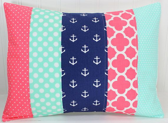 Nursery Pillow Cover, Throw Pillow Cover, Anchor Nursery Decor, Coral Pink, Navy Blue, Seafoam, Mint Green, Nautical, 12 x 16 Inches