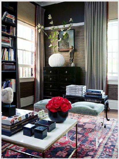 Gabriel HendifarDecor, Coffee Tables, Living Rooms, Interiors, Livingroom, Rugs, Lucite Stools, Design, Gabriel Hendifar