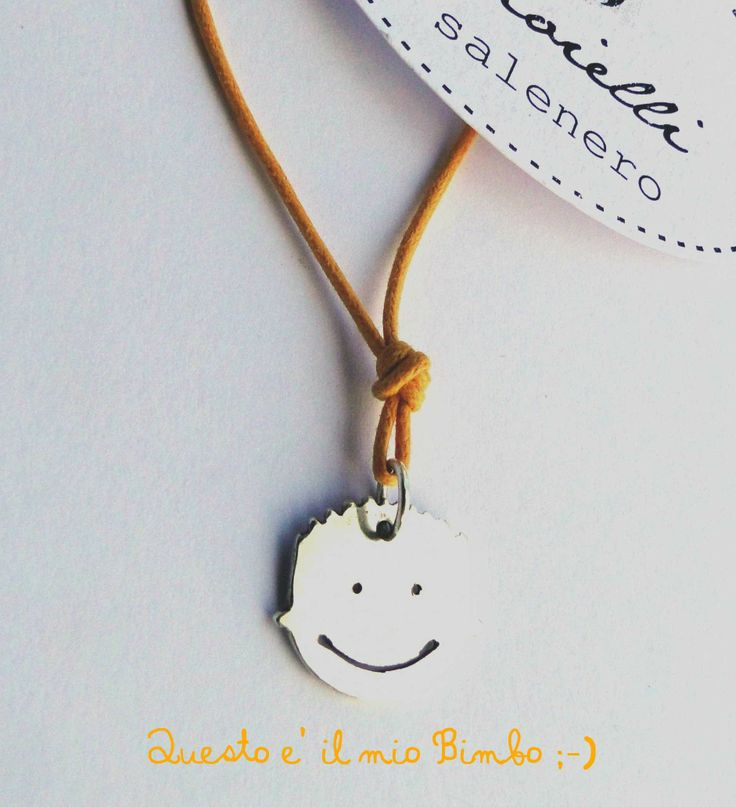 my curly baby boy / facejewel / silver pendant / Handmade Sterling Silver Jewellery / salenero.com