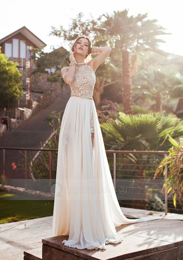 A-Line Halter Sleeveless Lace Chiffon Sweep Train Beach Wedding Dresses, OW322 – ombrepromuk