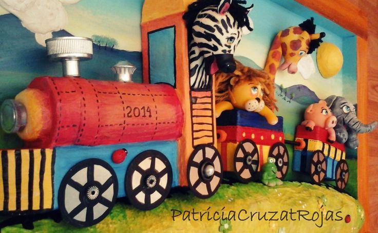 Detalle Cuadro en Relieve Tren con Animales.