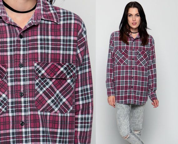 90s Plaid Shirt Oversized Red Flannel Shirt Grunge от ShopExile