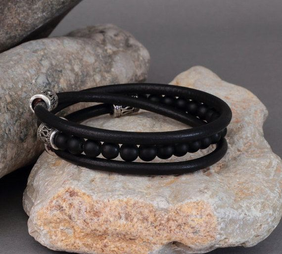 EXPRESS verzending mannen Gemstone Armbanden Mens door EsraLeather