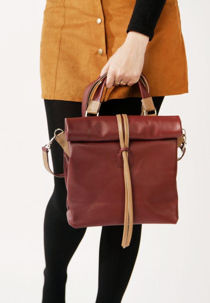 Large Leather Bag by A-Rada / Bordo Cross Body Bag / Large Leather Purse / Кожаная бордовая сумка через плечо