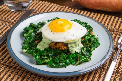 Chipotle Sweet Potato and Black Bean Quinoa Cakes with Creamy Avocado Sauce; Made even better with a fried egg!