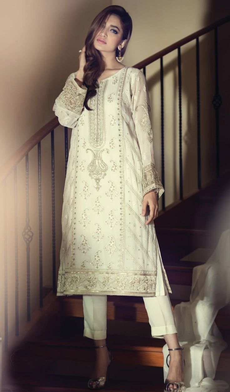 Buy Off-White Embroidered Chinese Chiffon Salwar Kameez Dress by Maria B. Chiffon Collection 2015.
