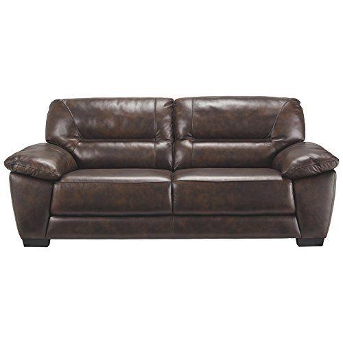 Ashley Furniture Signature Design Mellen Contemporary Leather Sofa Walnut Brown
