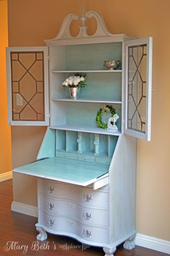 This lovely secretary desk was painted in ASCP Paris Grey with Duck Egg interior.Check out my portfolio at www.marybethsplaceca.blogspot.com