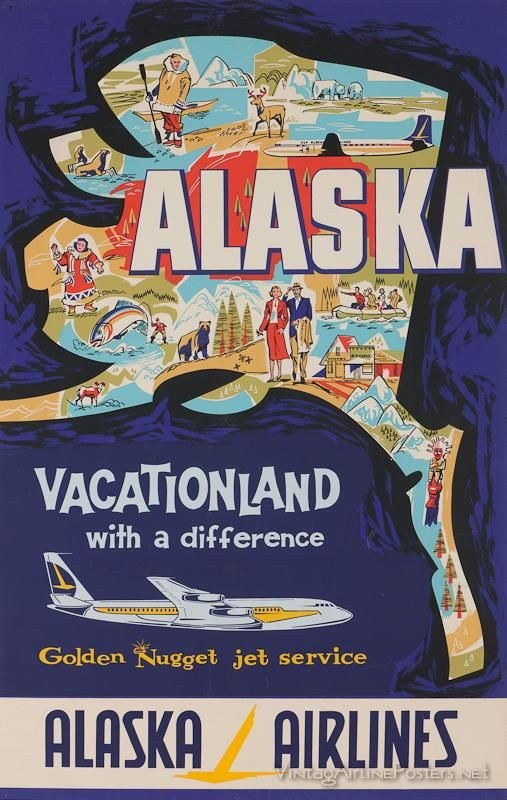 Vintage style travel poster - USA - Alaska Vacationland with a difference Alaska Airlines