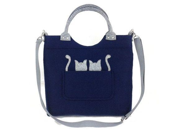 Cats handbag Felt purse Bag for women Navy blue by Torebeczkowo, #catsHandbag