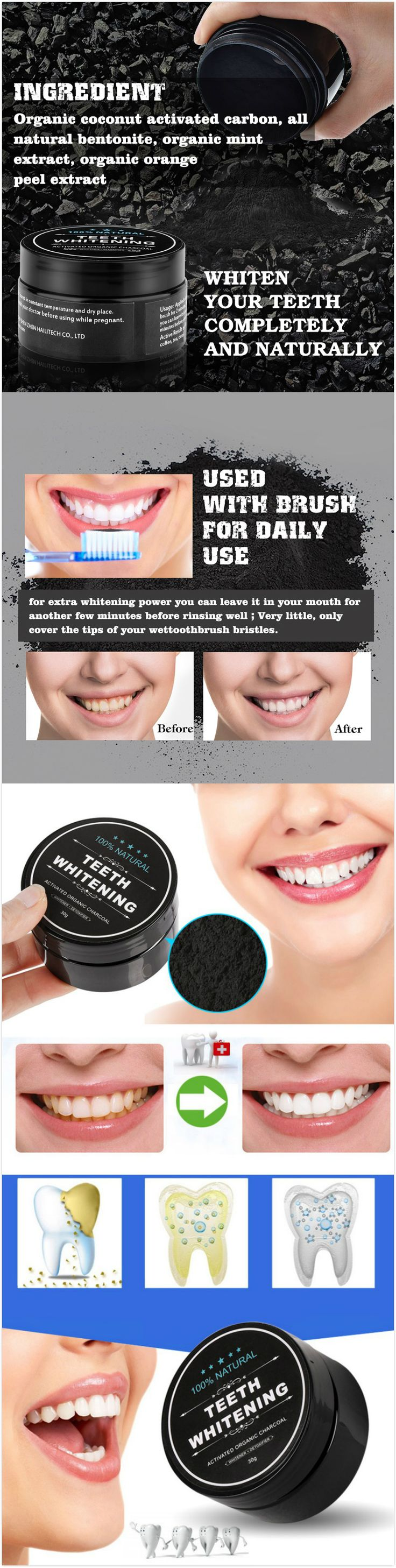 [$ 7.99]  100% Natural Teeth Whitening Powder Activated Bamboo Charcoal Smoke Coffee Tooth Stain Cleaning