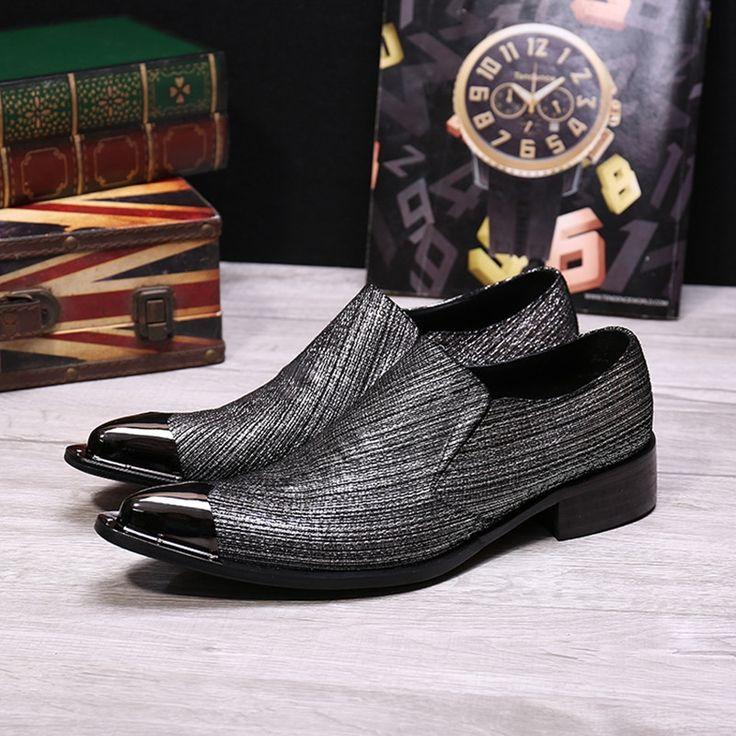 69.60$  Watch here - http://aliu0m.shopchina.info/1/go.php?t=32735487303 - Big Size Genuine Leather Formal Men Dress Shoes Fashion Metal Toe Slip on Oxfords Party Wedding Italian Men Shoes Men Flats   #magazine