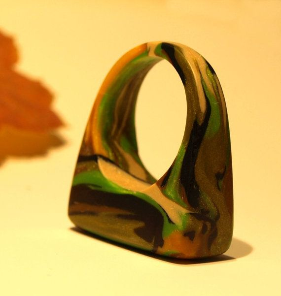 CLAY Camouflage Rings, Camo Jewelry, OOAK Rings, OOAK Jewelry, Wearable Art…