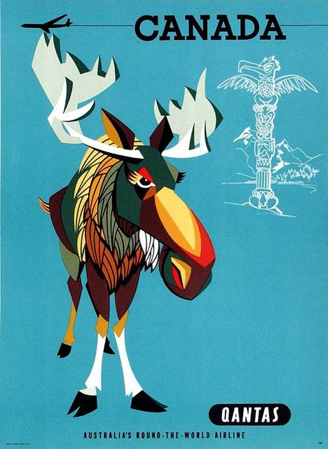 Vintage Qantas Canadian airline travel poster