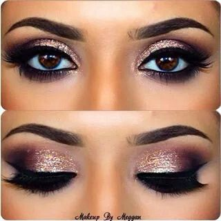 Sparkly rose gold eye makeup: