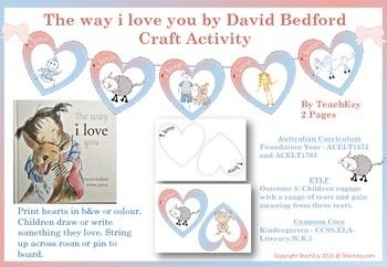"""This cute little craft activity goes with the book by David Bedford and Ann James called """"The way i love you"""" . The gorgeous pictures in this book beautifully illustrate the joy and love between the little girl and her dog."""