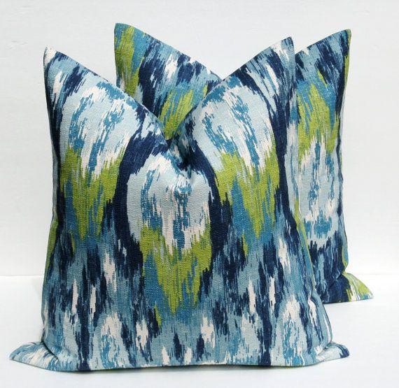 decorative throw pillows throw pillow covers two 16x16 blue green pillow burlap pillow ikat pillow printed - Blue Decorative Pillows