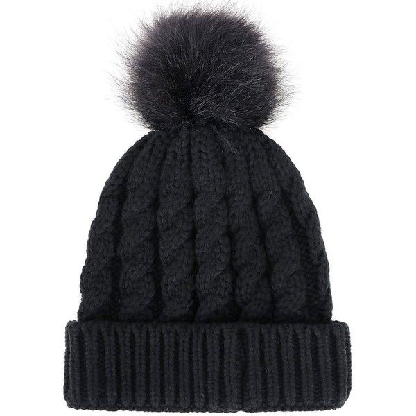 Women's Winter Soft Knitted Beanie Hat with Faux Fur Pom Pom, Black at... ($12) ❤ liked on Polyvore featuring accessories, hats, pompom hat, pom beanie, pom pom beanie, pom pom beanie hat and beanie cap