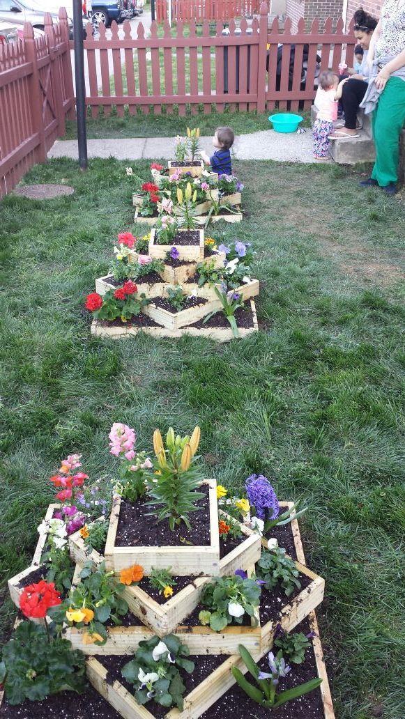 Garden multicolor flower towers.