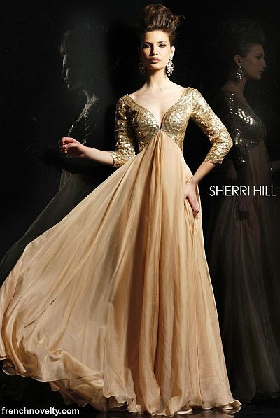 Sherri Hill Nude Evening Dress 2963 with Three Quarter Sleeves at frenchnovelty.com