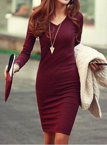 Simple V-Neck Long Sleeve Solid Color Bodycon Knitted Women's Dress Sweater Dresses | RoseGal.com